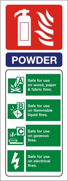 Dry Powder Fire Extinguisher Portrait Identity Sign