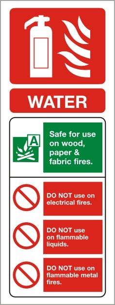 Water Fire Extinguisher Portrait Identity Sign